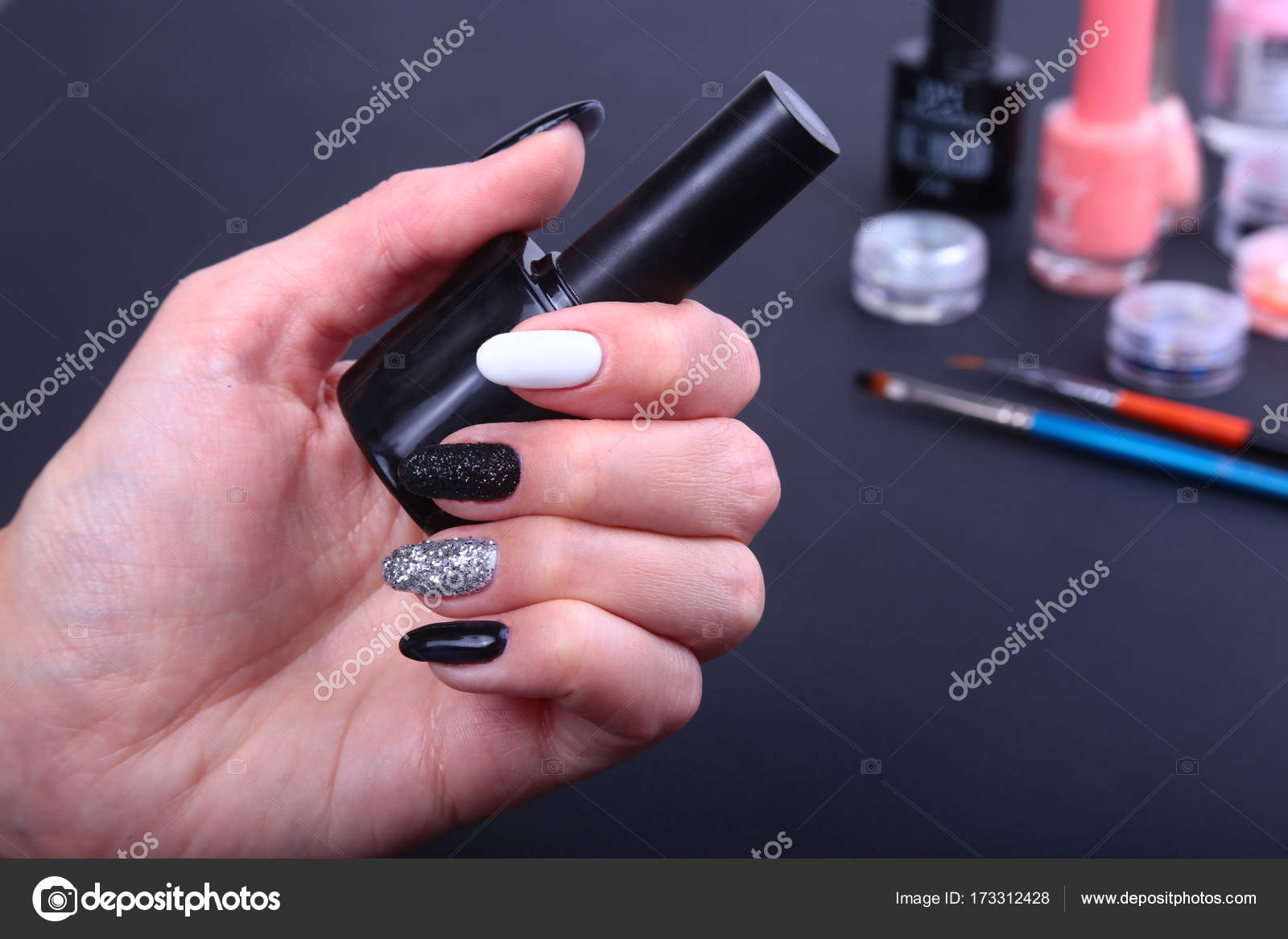 Black White Nail Art Manicure Vakantie Stijl Heldere Manicure Met