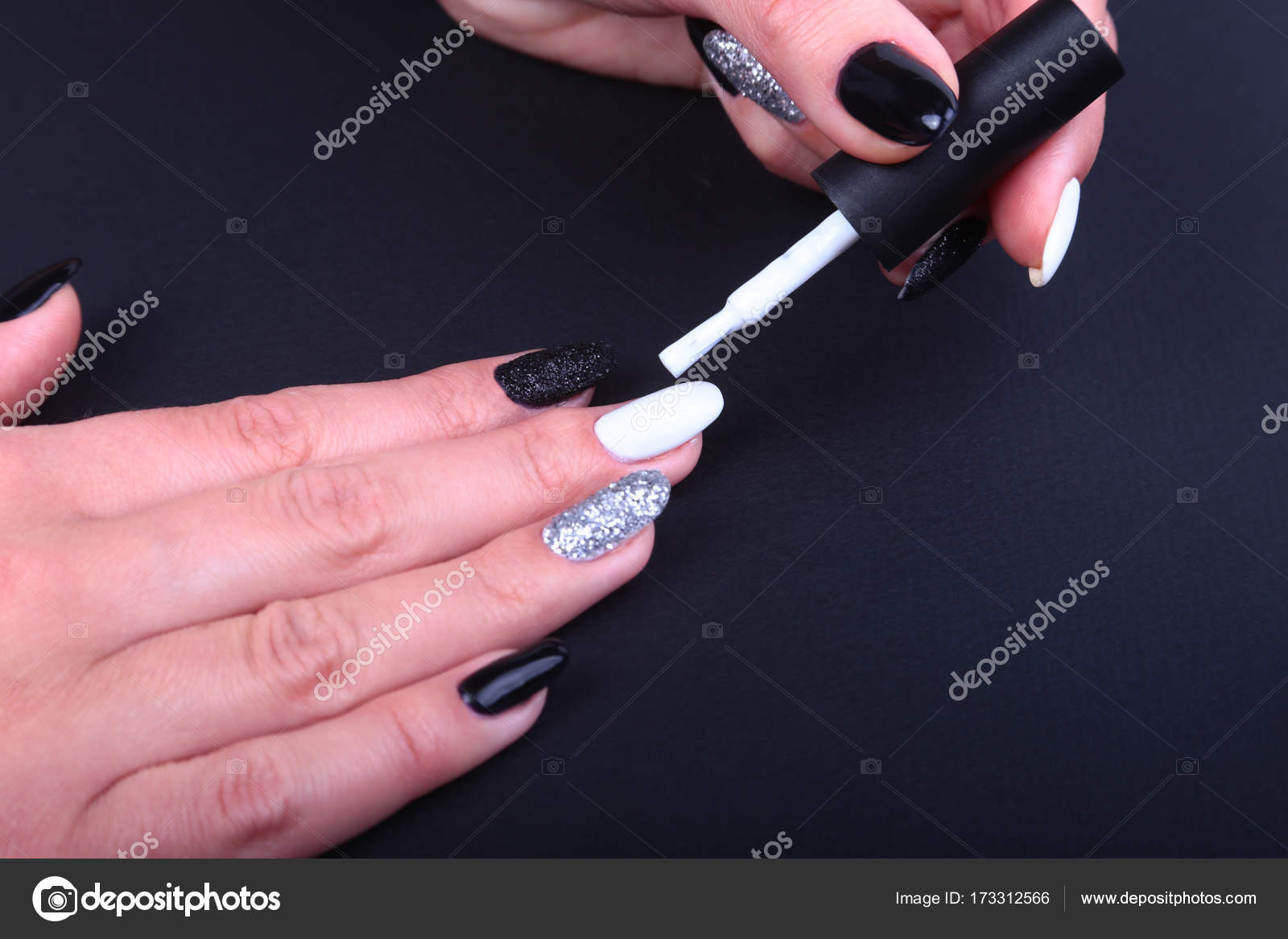 Black, white Nail art manicure. Holiday style bright Manicure with ...