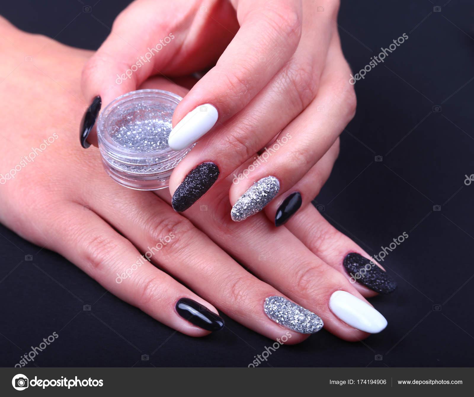 Czarny Biały Manicure Paznokci Sztuki Wakacje W Stylu Manicure