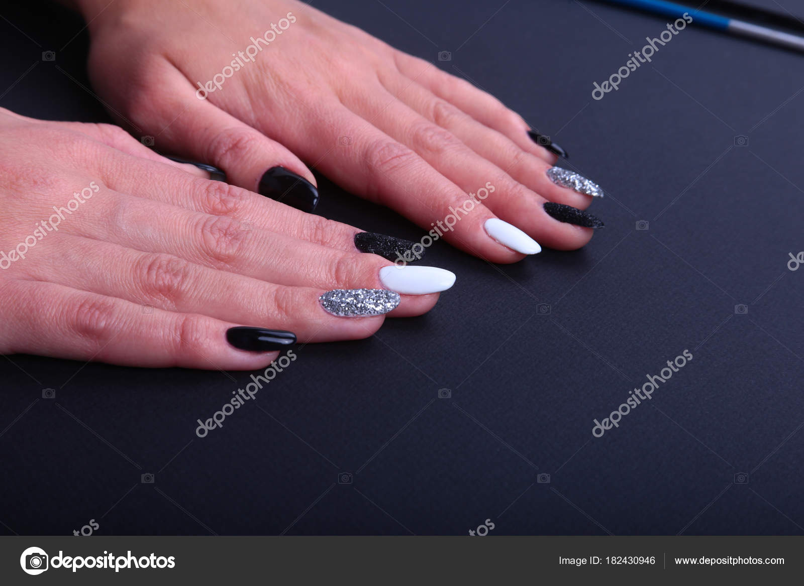 Black And White Marble Nails Black White Nail Art Manicure Holiday Style Bright Manicure With Sparkles Beauty Hands Stylish Nails Nail Polish Stock Photo C Vicby 182430946