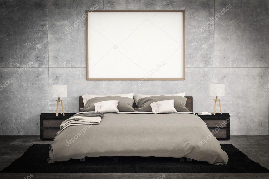 creatieve vooraanzicht mock up: slaapkamer met het schilderen van de ...