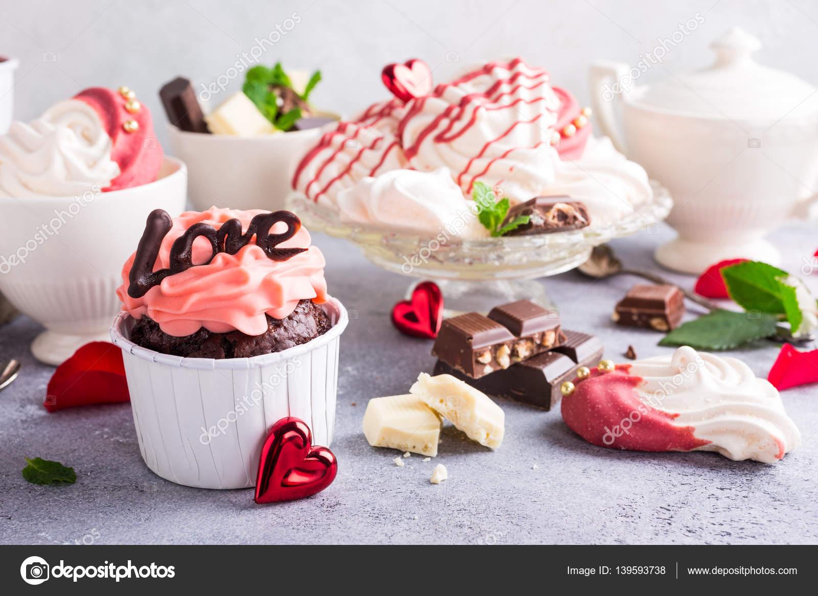Beautiful Chocolate Cupecake With Meringue Stock Photo C Imelnyk