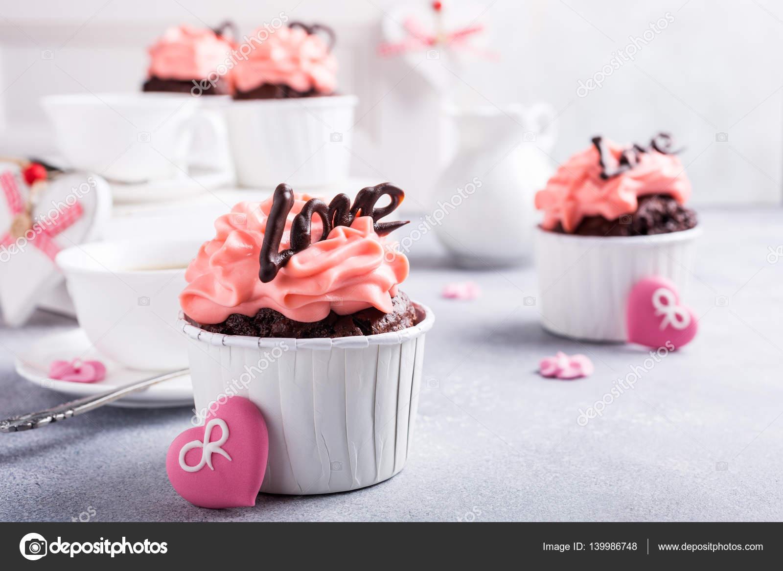 Beautiful Chocolate Cupecake With Heart Stock Photo C Imelnyk