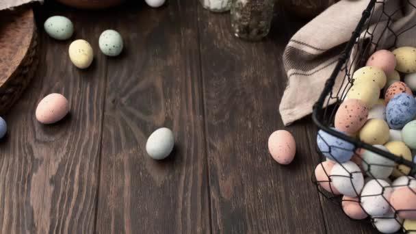 Easter colorful quail eggs