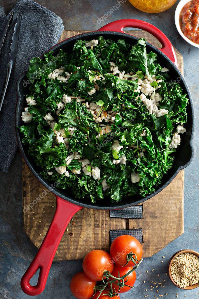 Sauteed kale with ground turkey