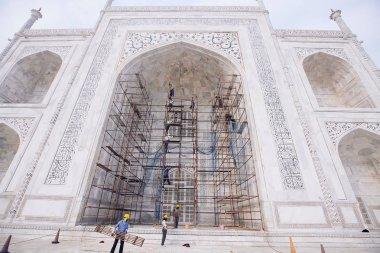 Agra, India - January 21, 2017: Taj Mahal complex under reconstr
