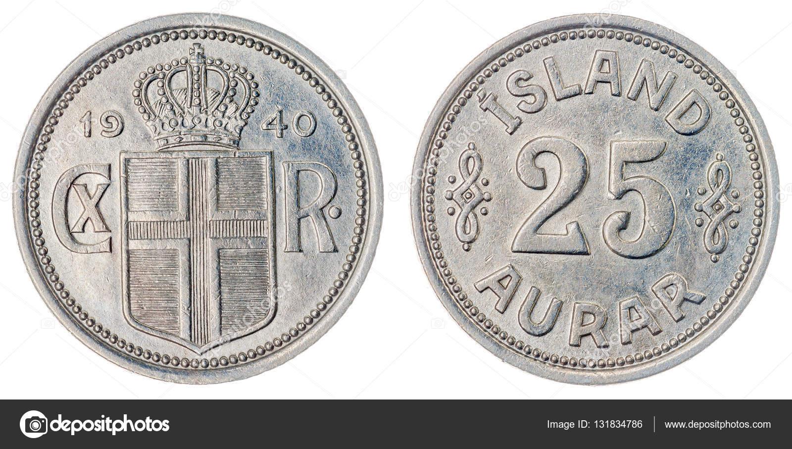 25 Aurar 1940 Münze Isoliert Auf Weißem Hintergrund Island