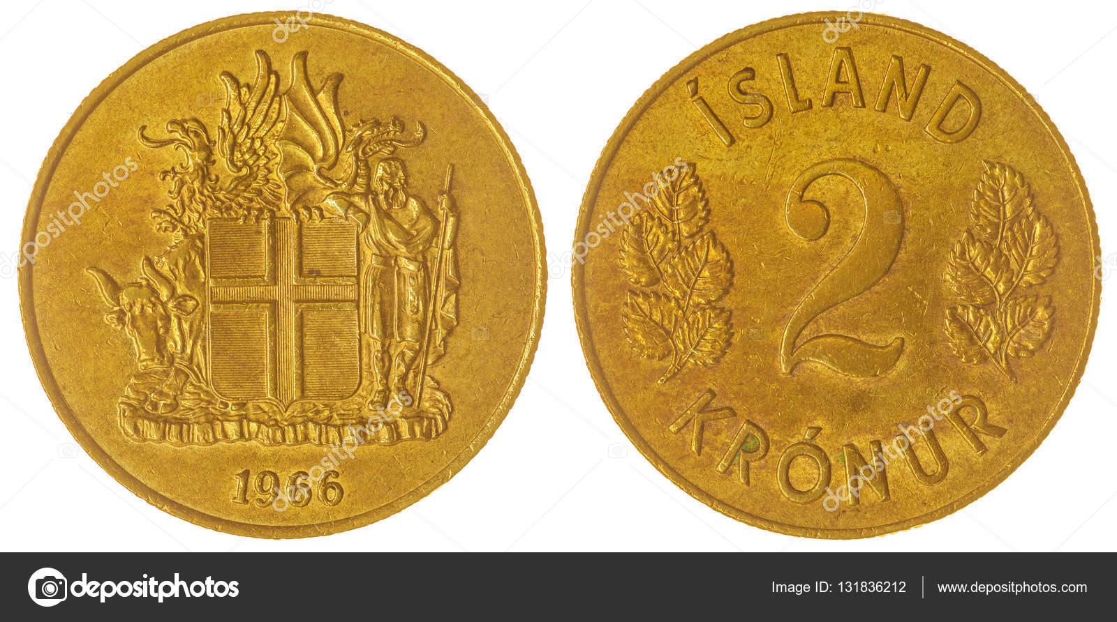 2 Wechseln 1966 Münze Isoliert Auf Weißem Hintergrund Island