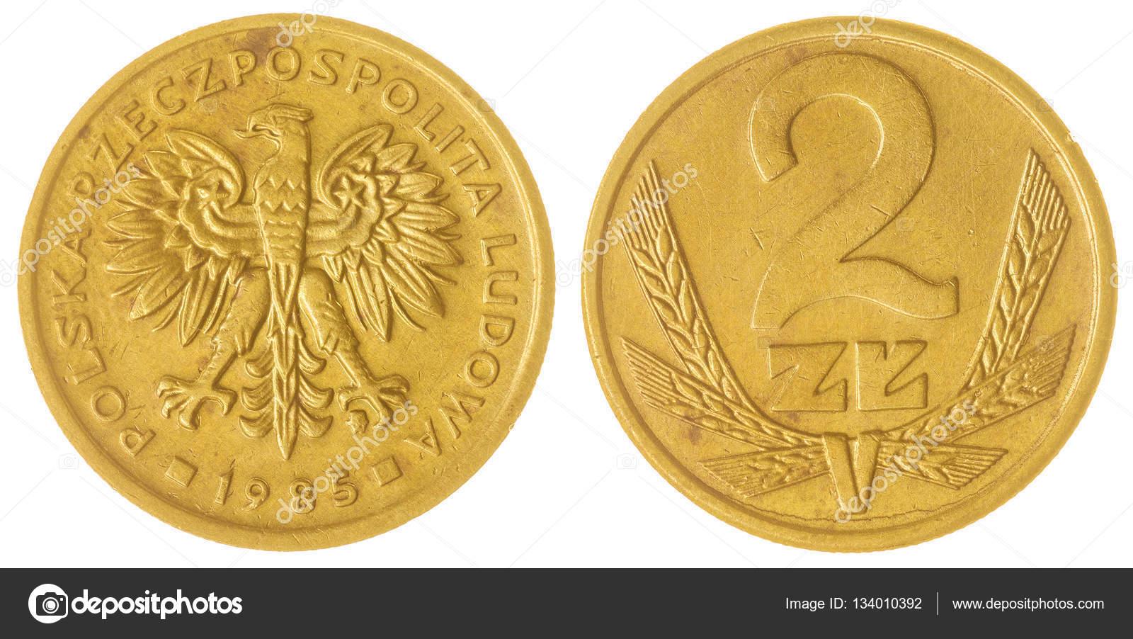2 Zloty 1985 Münze Isoliert Auf Weißem Hintergrund Polen
