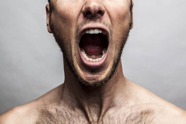 man shouting face