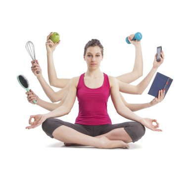 multitasking woman in yoga position