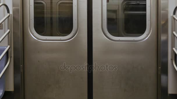 New York City Subway Interior Doors While Traveling U2014 Stock Video