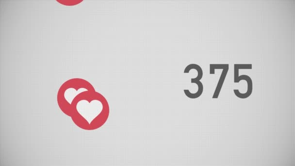Closeup Counter of Likes Being Accumulated with Hearts