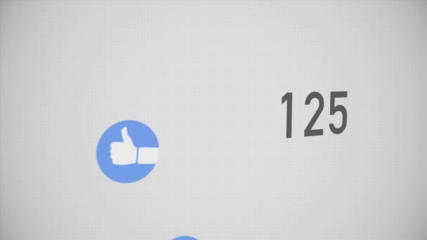 Closeup Counter of Likes Being Accumulated with Thumbs-Up