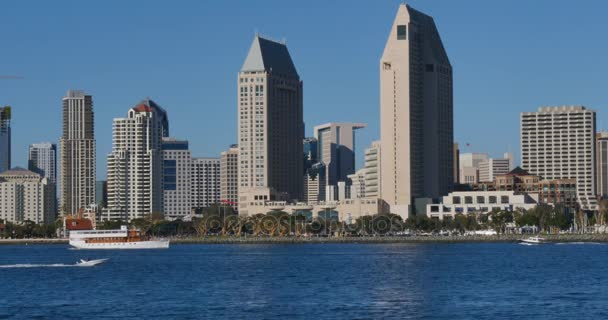 Day Establishing Shot Of San Diego Skyline From Coronado Island Stock Footage