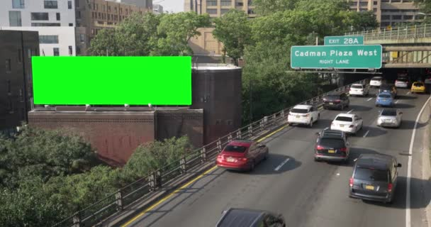 High Angle Establishing Shot of Cadman Plaza Exit Off BQE with Greenscreen Billboard