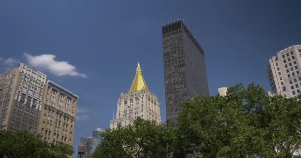 Den založení zastřelených Manhattan Skyline, jak je patrné z Madison Square Park