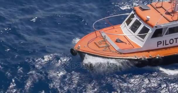 High Angle View of Bow of Small Pilot Boat