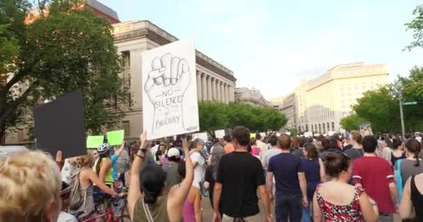 Anti-Hate Protesters Chant while Marching on Pennsylvania Avenue Outside The White House
