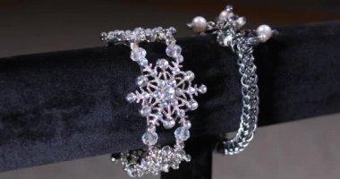 Rotating Display of Silver Costume Bracelet Merchandise