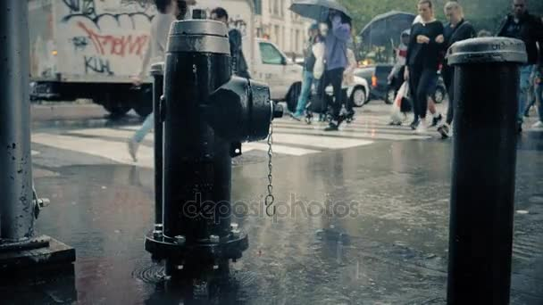 Zpomalený pohyb chodců s deštníky na deštivé ulice Manhattanu