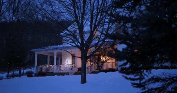 nighttime low angle stationary winter establishing shot pennsylvania