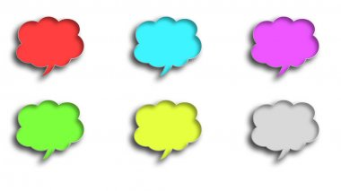 3D balloon dialogue clouds in different colors