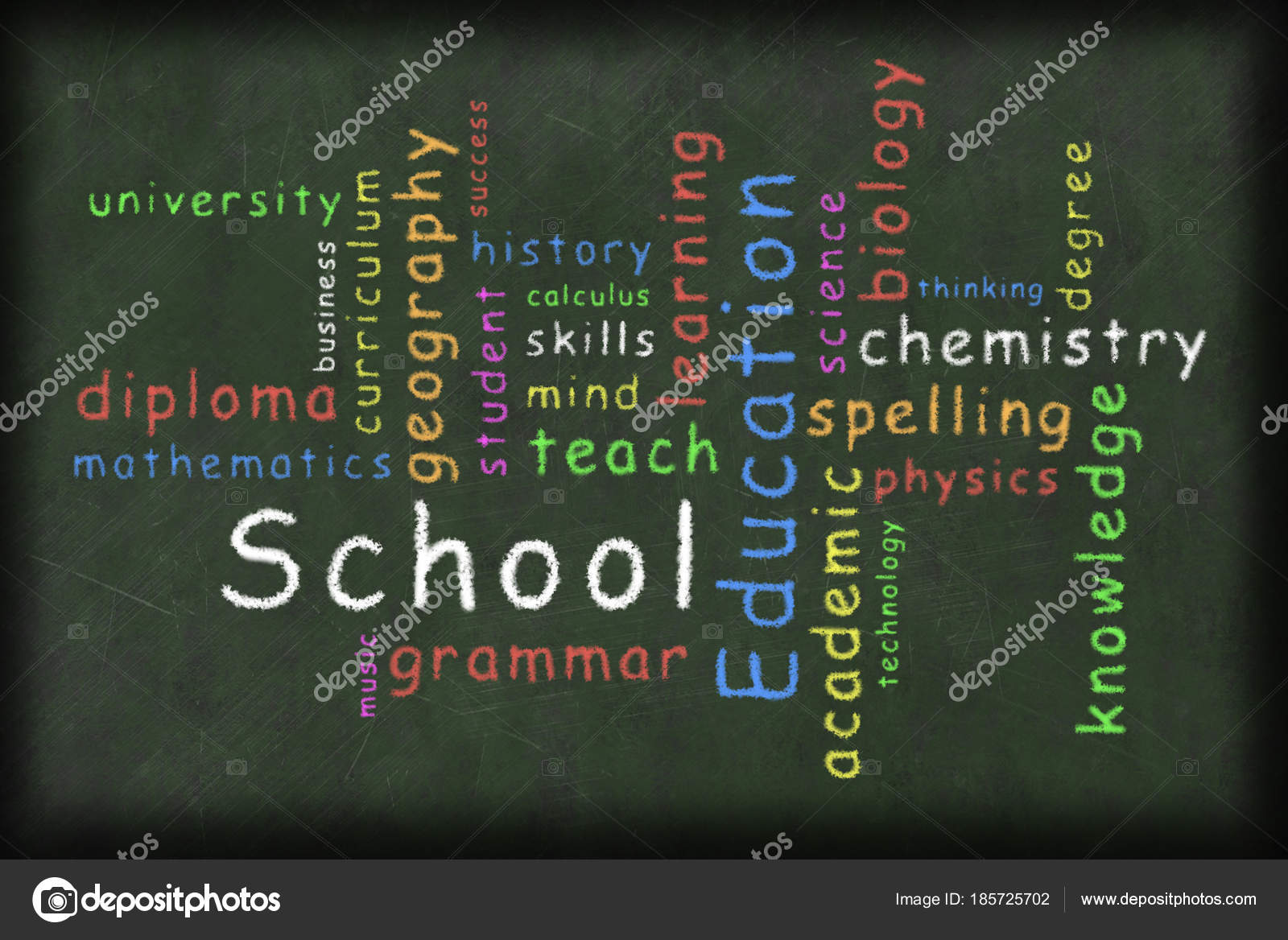 illustration education related words different color written chalk