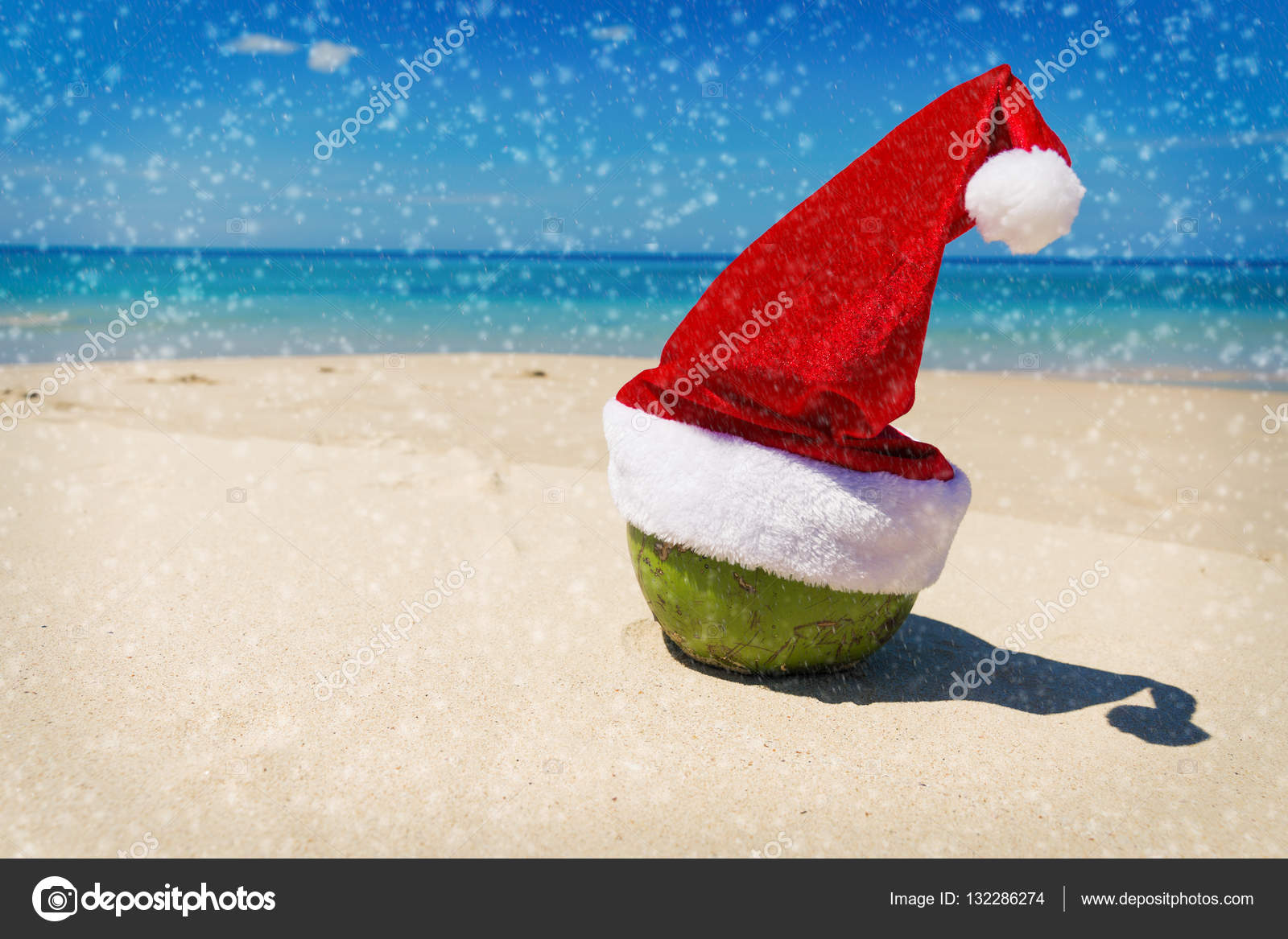 Noce di cocco in spiaggia tropicale di sabbia cappello di Babbo Natale —  Foto Stock c9bff1912fff