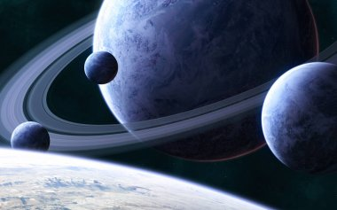 Blue planet with a system of rings and satellites in deep space. Science fiction