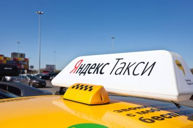 Yandex taxi on the street