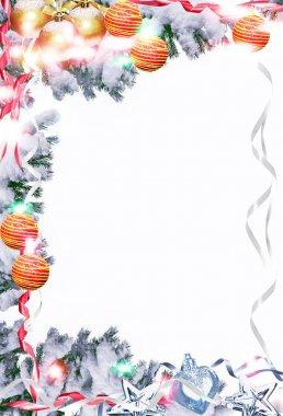 """Картина, постер, плакат, фотообои """" рождественская игрушка на ветке ели """", артикул 129493722"""