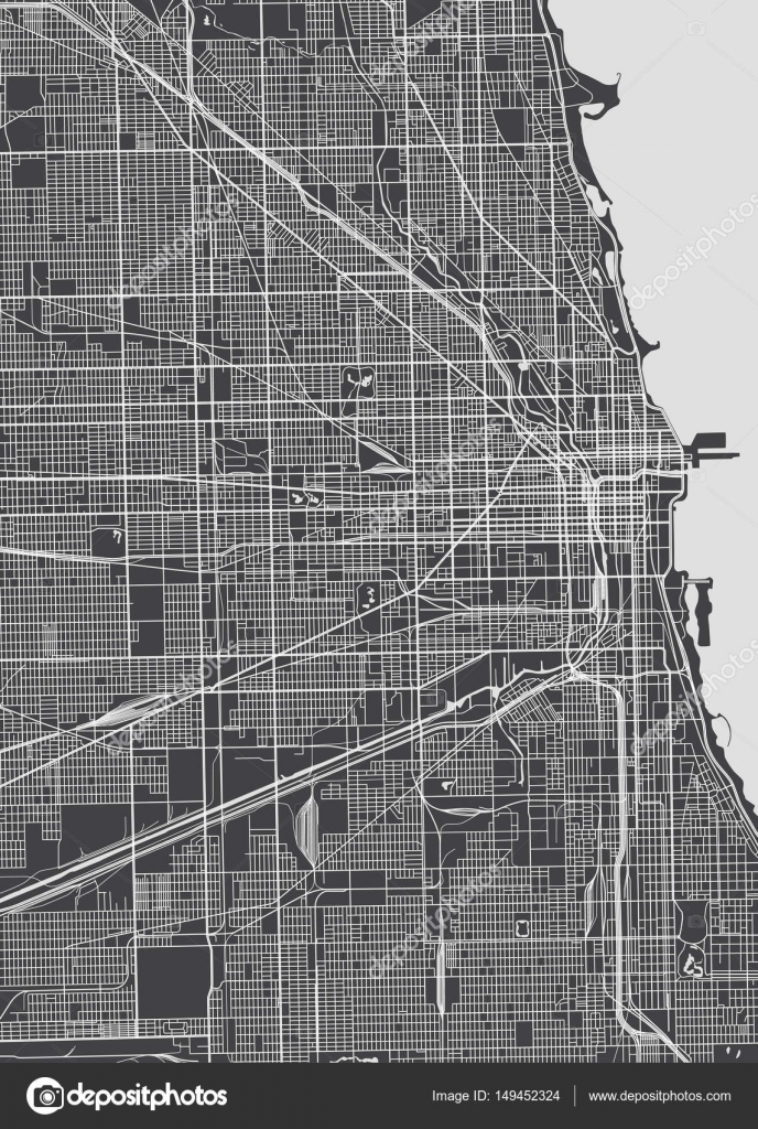Chicago city plan detailed vector map u2014