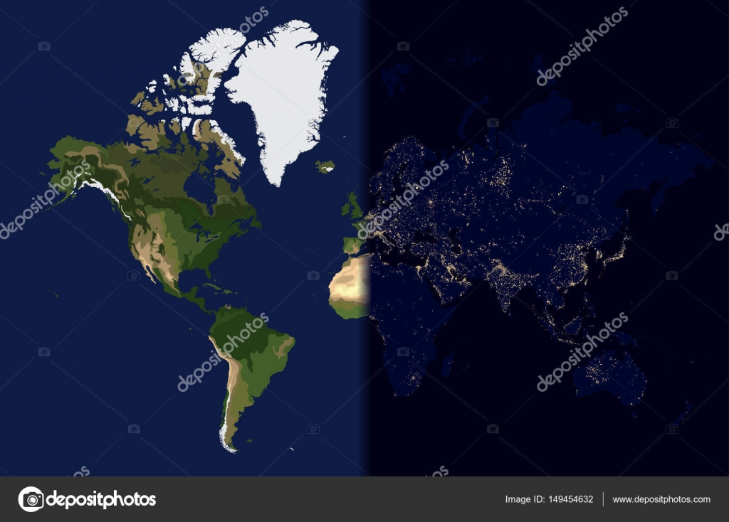 Night in the east, Day in the West, World map vector illustration ...
