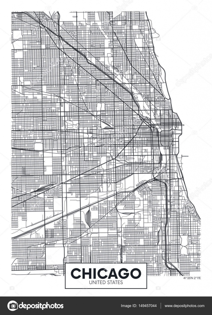 Vector poster map city Chicago Stock Vector Max776 149457044