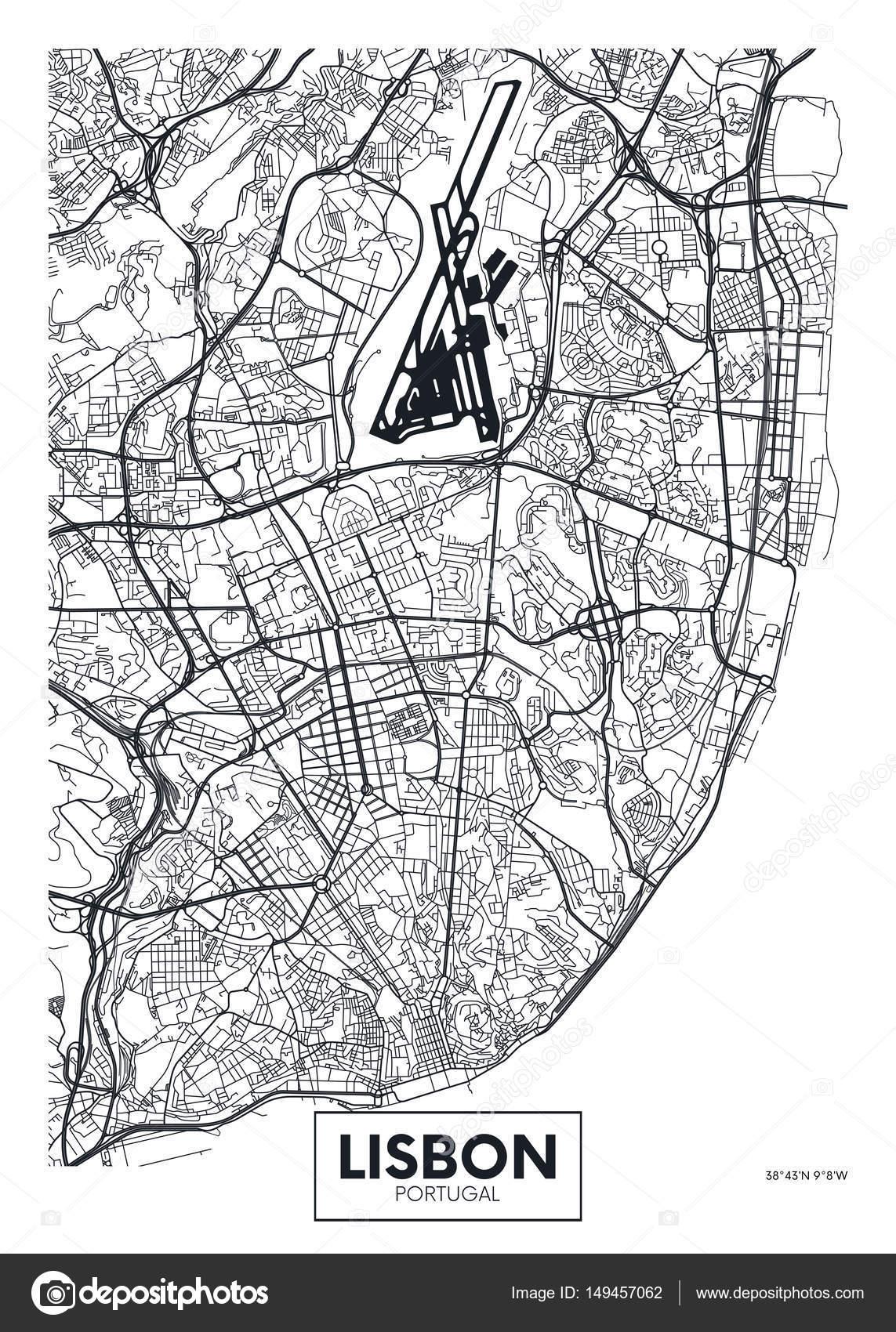 lissabon karta Vector affisch karta staden Lissabon — Stock Vektor © Max_776  lissabon karta