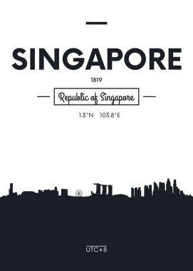 Poster city skyline Singapore, Flat style vector illustration