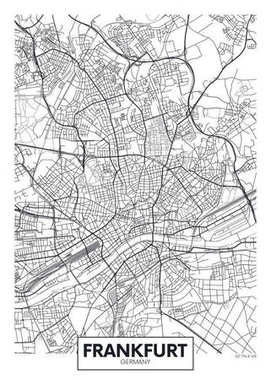 Detailed vector poster city map Frankfurt