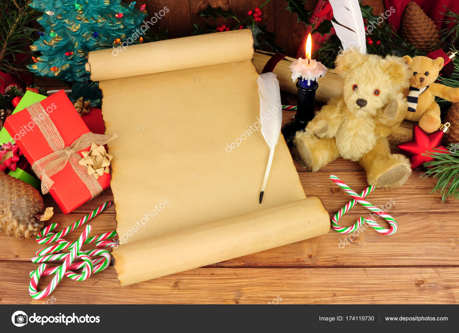 Old Paper Scroll With Nostalgic Christmas Background — Stock Photo ...
