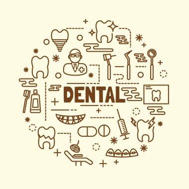 dental minimal thin line icons set