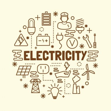electricity minimal thin line icons set