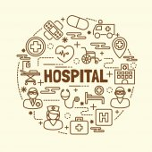 Fotografie hospital minimal thin line icons set