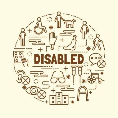 disabled minimal thin line icons set