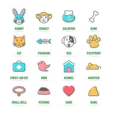 pet vector line icons with flat colors