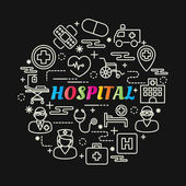 Fotografie hospital colorful gradient with line icons set