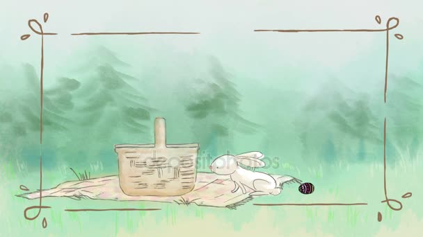 white rabbit whit an egg in a green spring meadow stealing a carrot from a picnic basket