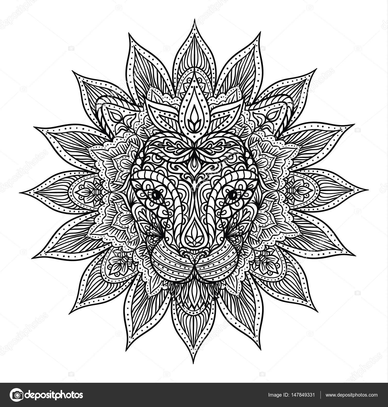 overzicht leeuw mandala — stockvector © prikhnenko 147849331
