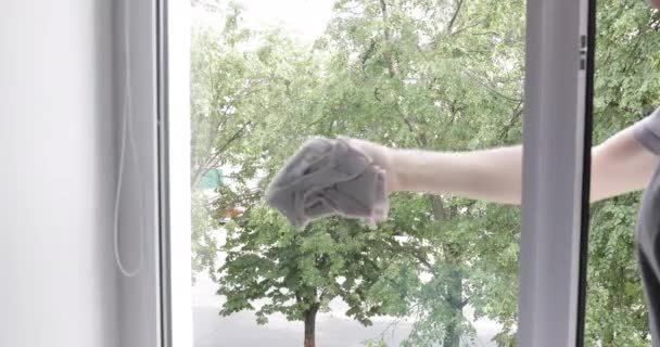 Young woman is washing the window at home