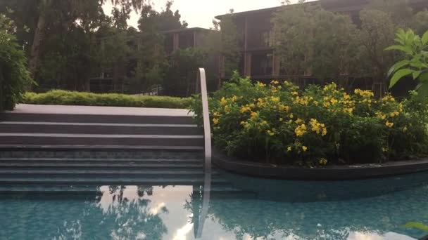 Luxury hotel garden with swimming pool