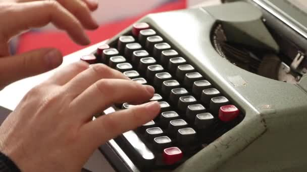 Shot of Old vintage typewriter machine with clicking soundfx